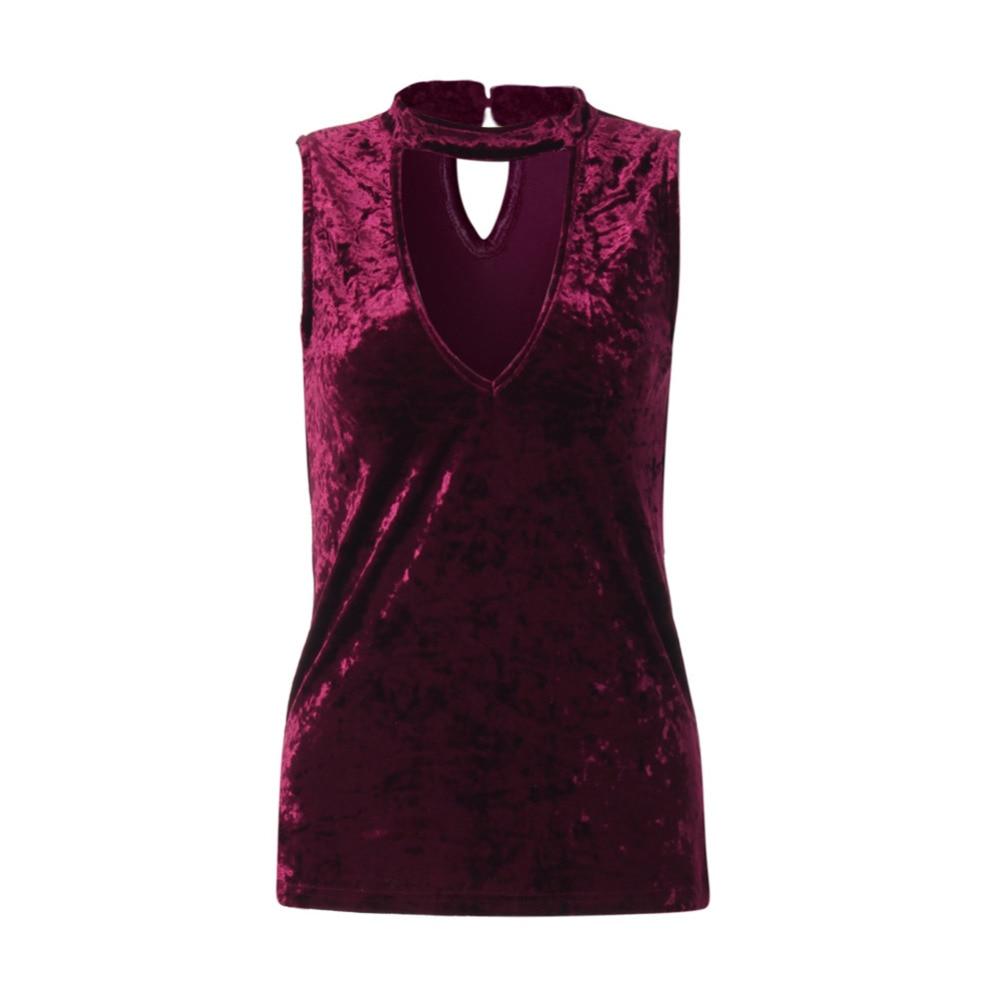 Womens Fashion Design Sexy Deep V-Neck Sleeveless T-shirt Velvet Tops Off Shoulder Halter Shirts Tee Shirt