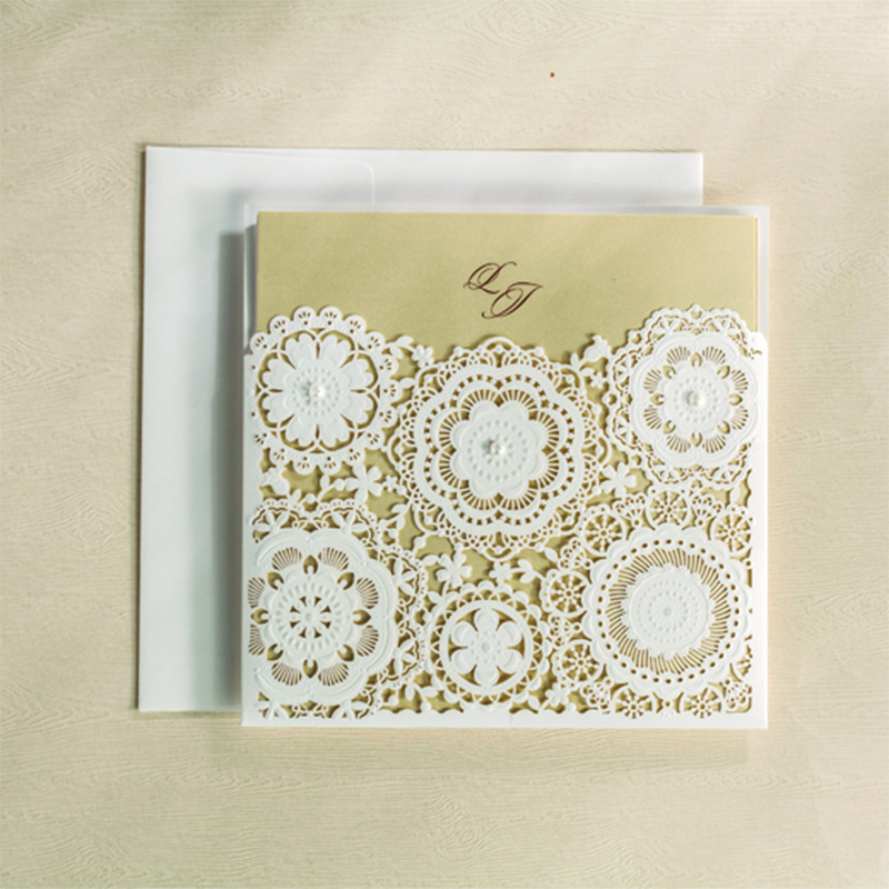 Design Square Snow White Laser Cut Wedding Cards For Invitations Flower lace Blank Inside Printing Invitation Card Kit Invite design laser cut lace flower bird gold wedding invitations kit paper blank convite casamento printing invitation card invite