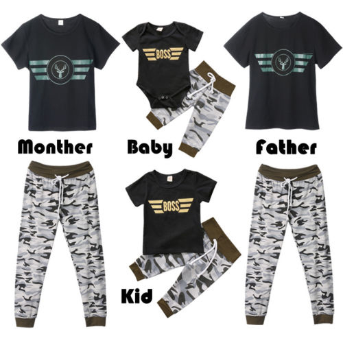 Lovely Casual Women Man Kids Baby Boy Rompers T-shirt Pants Cotton Outfits Family Matching Clothes