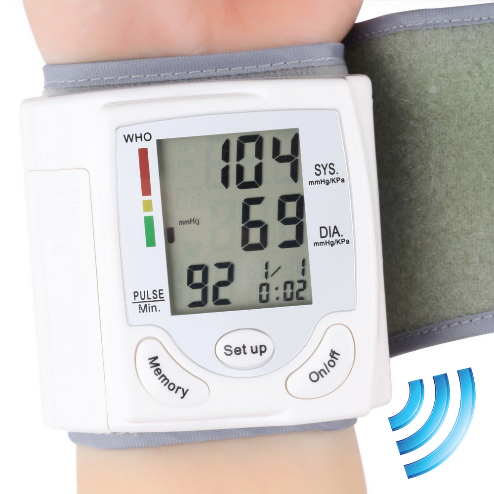 Gustala Automatic Digital Sphygmomanometer Wrist Cuff Arm Blood Pressure Monitor Meter Gauge Measure Portable Bracelet Device portable home digital arm blood pressure monitor heart beat meter with lcd display and 4x30 memories ah 216