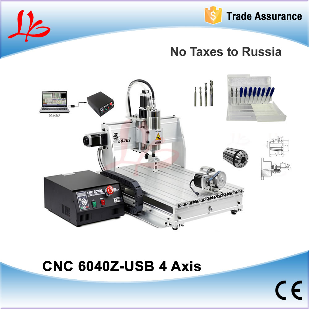 4 Axis Engraving Machine 6040,1.5KW Spindle CNC Milling Machine with USB Port, NO TAX to Russia Ukraine cnc milling machine 4 axis cnc router 6040 with 1 5kw spindle usb port cnc 3d engraving machine for wood metal
