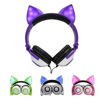 Wired Headband Kids Extender Ear Headphones Stereo Headband Earphones for iPad Tablet Smart phones Children Cartoon Cute Light