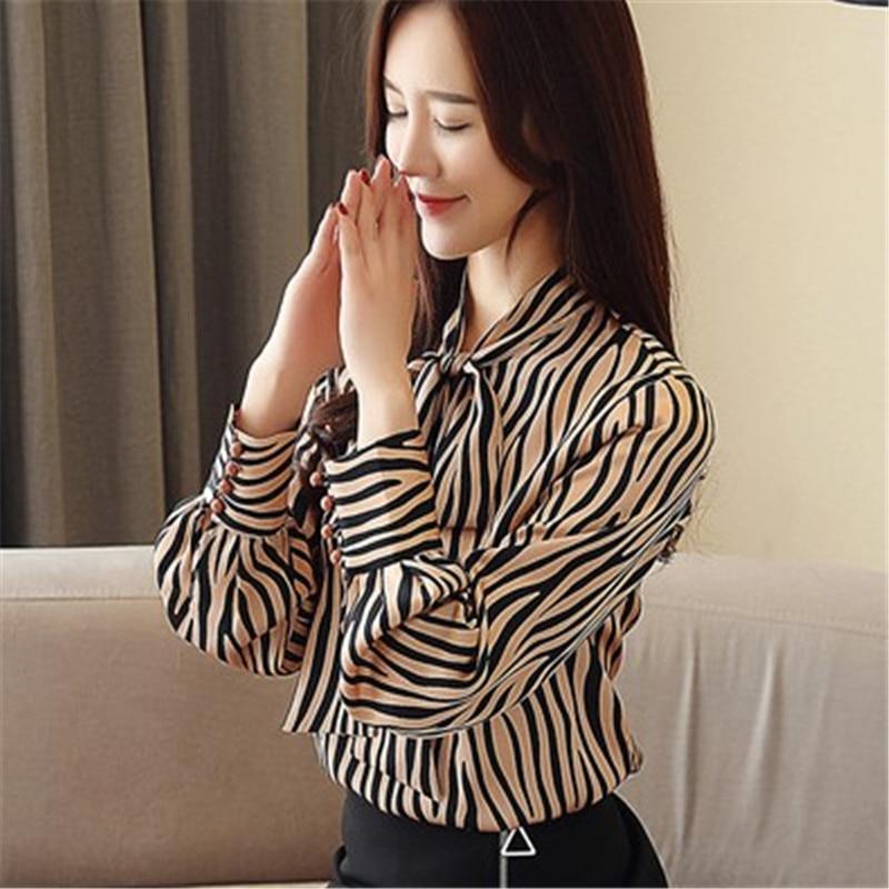 Blusas womens top blouses 2019 Print floral shirt large size bowtie ribbon mulberry silk blouse slim bottom long sleeve L