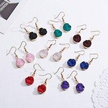 Rinhoo винтажные простые геометрические висячие серьги, круглые серьги из смолы с натуральным камнем, женские богемные Ювелирные серьги в подарок