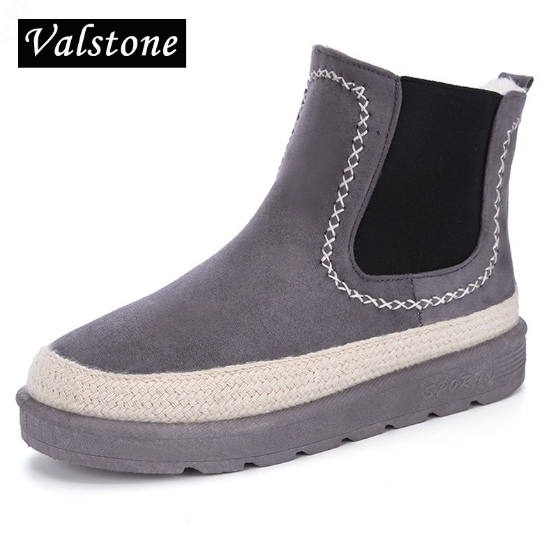 Valstone Women winter casual Velvet shoes slip on breathable cotton-padded warm walking Snow boots espadrilles sneakers Feme
