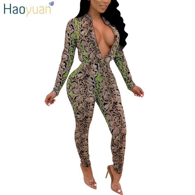 124bc6d5866 HAOYUAN Snake Print Rompers Womens Jumpsuit Long Sleeve Overalls Streetwear  Snakeskin One Piece Bandage Sexy Bodycon Jumpsuit