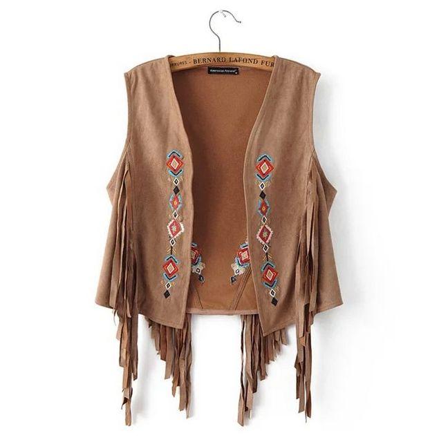 Chaleco de flecos de gamuza nuevo Chaleco de cuero con flecos otoño  ahuecado Chaleco de mujer 1cb1ed08aa28