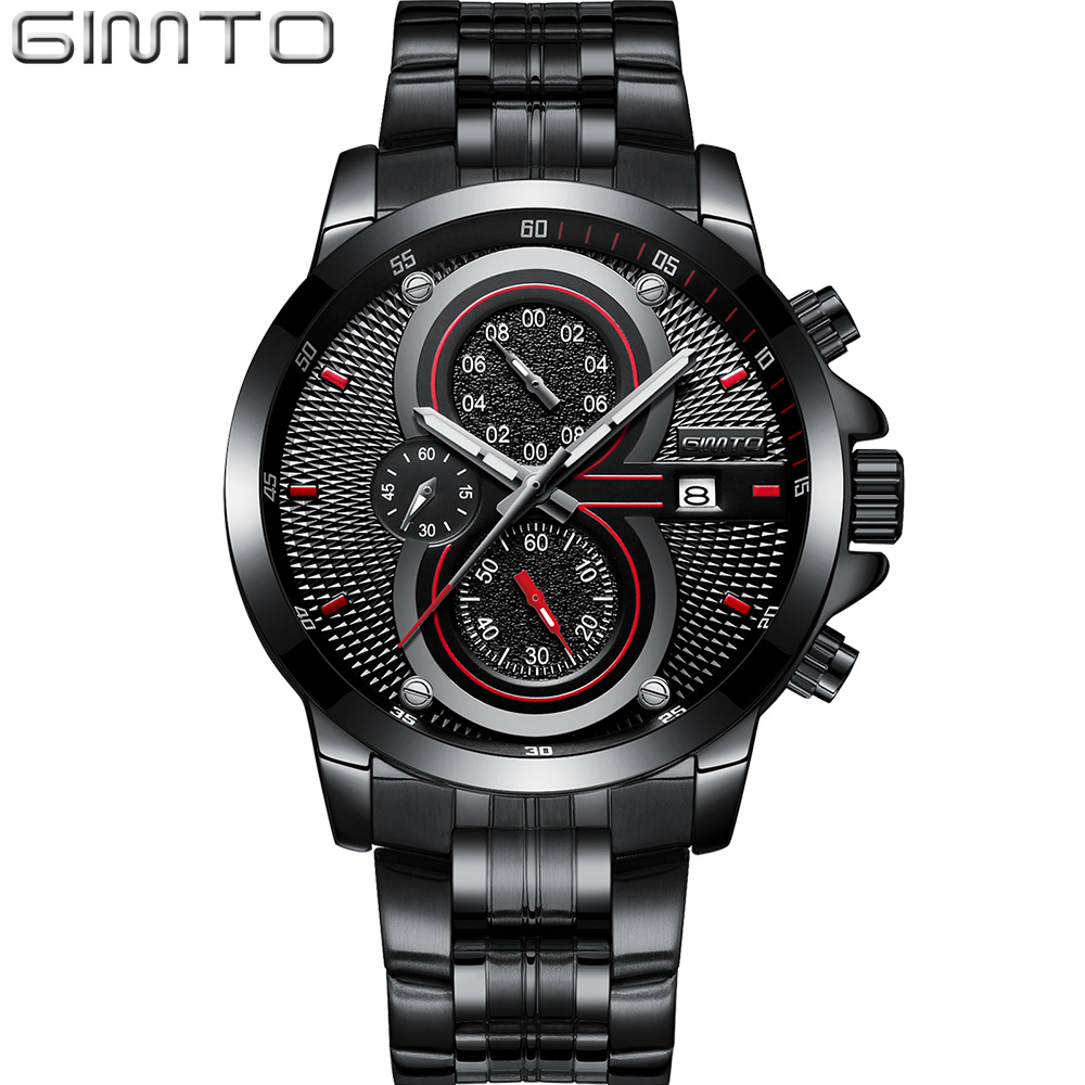 GIMTO 2018 Brand Creative Quartz Men Watch Steel Luxury Clock Waterproof Male Military Casual Sport Wristwatch Relogio Masculino famous brand role luxury men watch quartz sport watch men stainless steel wristwatch male clock waterproof relogio masculino new