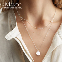 e-Manco korean multilayer choker necklace stainless steel necklace women dainty necklace fashion jewelry(China)
