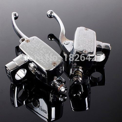 Pair Chrome Universal Motorcycle 7/8 Handlebar Brake Clutch Master Cylinder Levers For Harley Honda Suzuki Kawasaki Yamaha BMW universal motorcycle handlebar cup holder chrome metal drink for honda kawasaki harley davidson tour dyna sportster fat bob