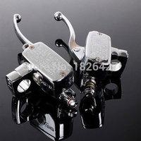 Pair Chrome Universal Motorcycle 7 8 Handlebar Brake Clutch Master Cylinder Levers For Harley Honda Suzuki