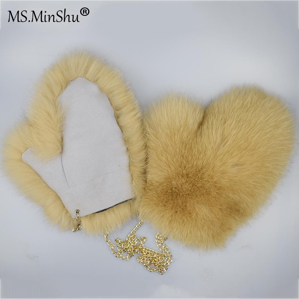 Natural Fox Fur Mittens Suede Leather Palm Genuine Fox Fur Gloves Winter Thicken Gloves Unisex Fluffy