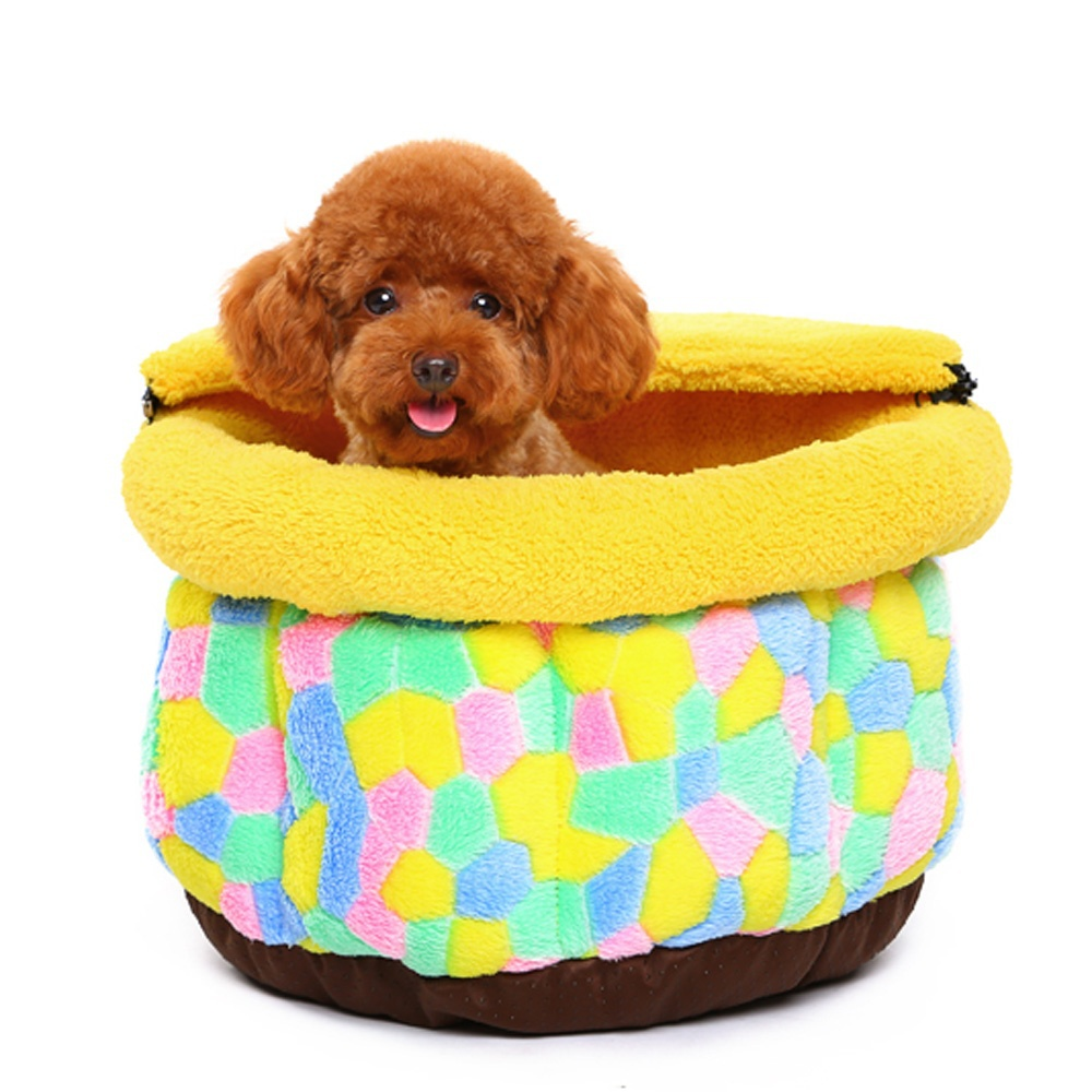 Cute Colorful Grid Non-slip Warm Shu Velveteen Pet Dog Cat Bed Nest House with Zipper Removable Half Cove