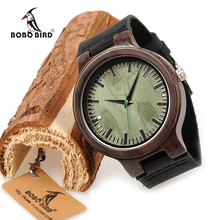 BOBO BIRD WC25 Ebony Wooden Watch Green Second Pointer Wood Face Watches for Men