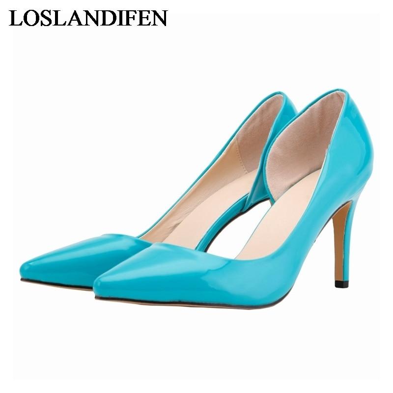 2018 Beliebte Mode 14 Farben Vintage Pu Leder Rot Schwarz Weiß Gelb Frauen High Heel Frauen Pumpen Schuhe Nlk-a0055