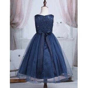Image 5 - Genç Prenses Elbise Kızlar Vestido Düğün Dantel file top Elbisesi Elbise 2 14 Yıl çocuk Çocuklar Tutu doğum günü partisi elbisesi