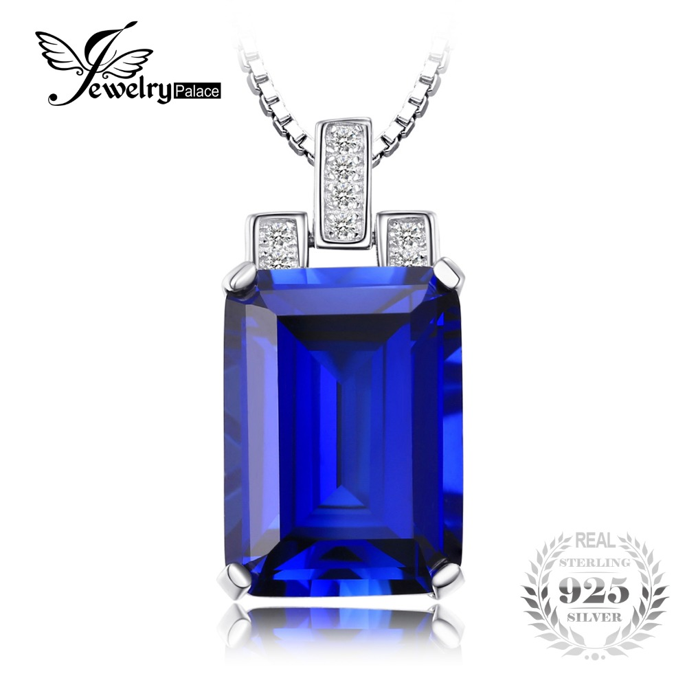 JewelryPalace Luxury Emerald Cut 9 4ct Created Blue Sapphire Pendant Genuine 925 Sterling Silver Jewelry for