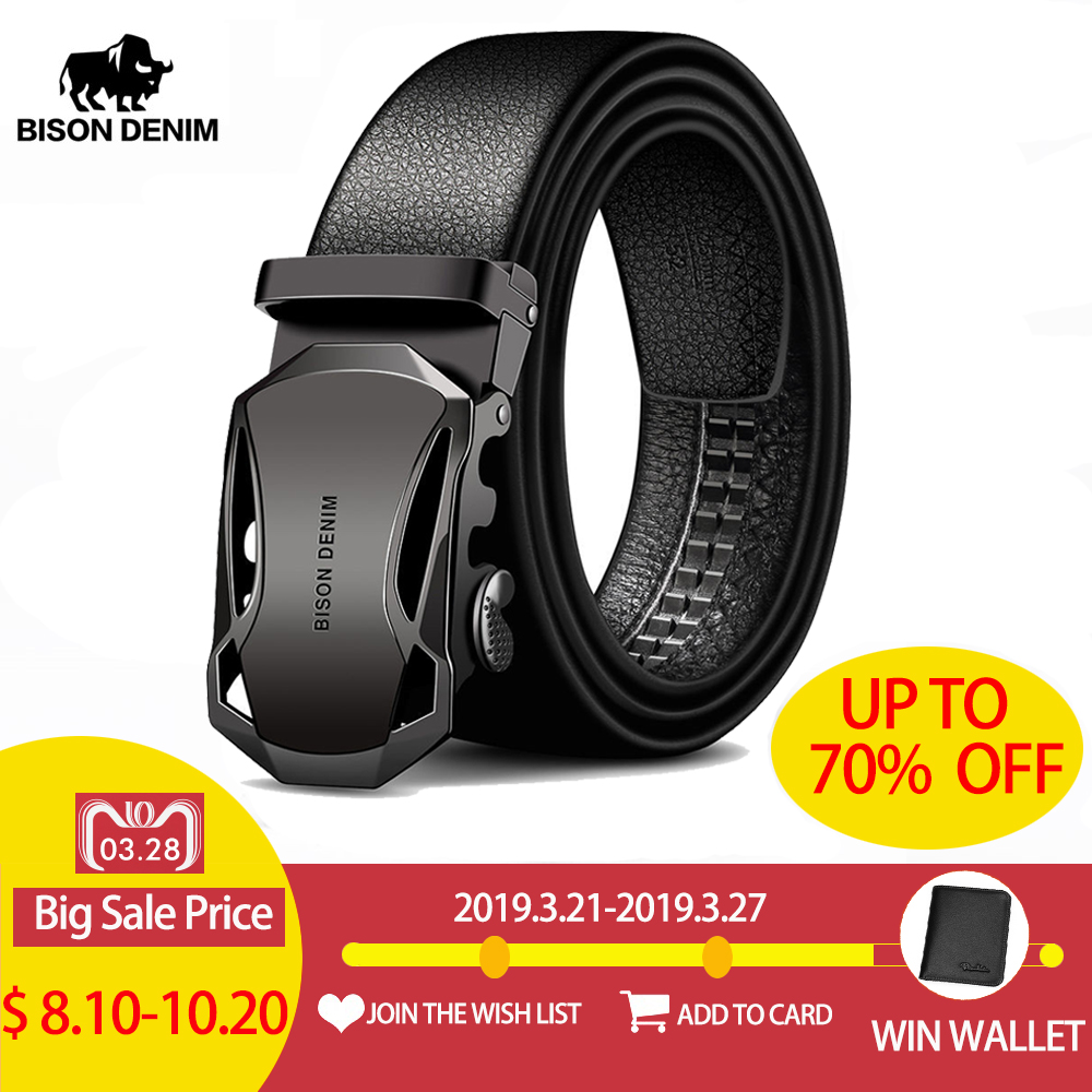 357145216 BISON DENIM Men's Belt Cow Leather Belts Brand Fashion Automatic Buckle  Black Genuine Leather Belts for Men 3.4cm Width N71314