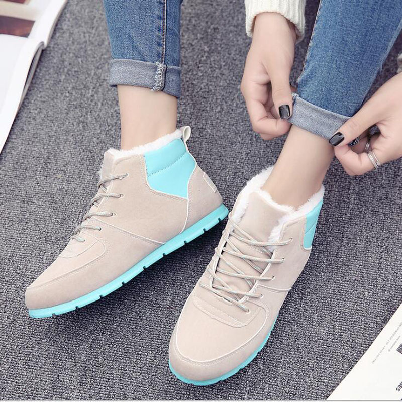 Winter boots women's casual boots with flat-bottomed women's snow cotton shoes female spell color flat short plush snow boots round flat bottomed sweet bowknot short boots