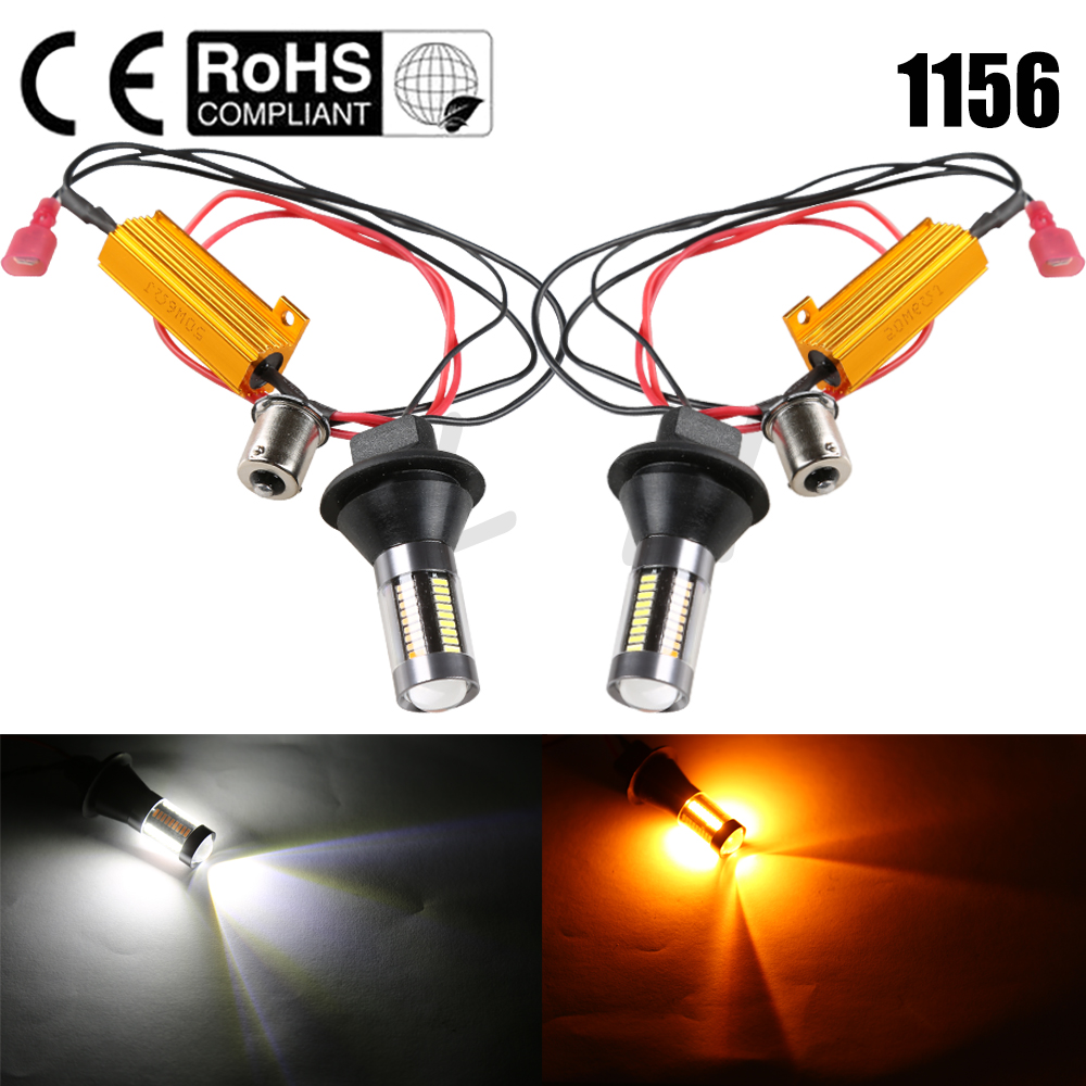 New 1156 P21W BA15S 66 SMD White/Amber Switchback LED Bulbs Kit Car Turn Signal Light Error Free Canbus with Resistor DRL ijdm amber yellow error free 2835 led 1156 p21w led bulbs for car front or rear turn signal lights daytime running lights