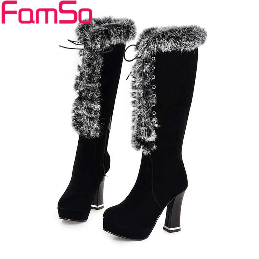 ФОТО Plus Size34-43 2017 Women Boots Autumn High Heels Tassel boots platforms Shoes Winter Women's Warm knee High Boots SBT3132