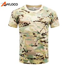 Купить с кэшбэком Summer Python Camouflage Male T-shirts Army Combat Tactical T Shirt Military Men Short Sleeve Quick Dry Hiking T-Shirts