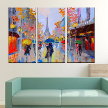 Street People Knife Handpainted Abstract Landscape Oil Paintings on Canva