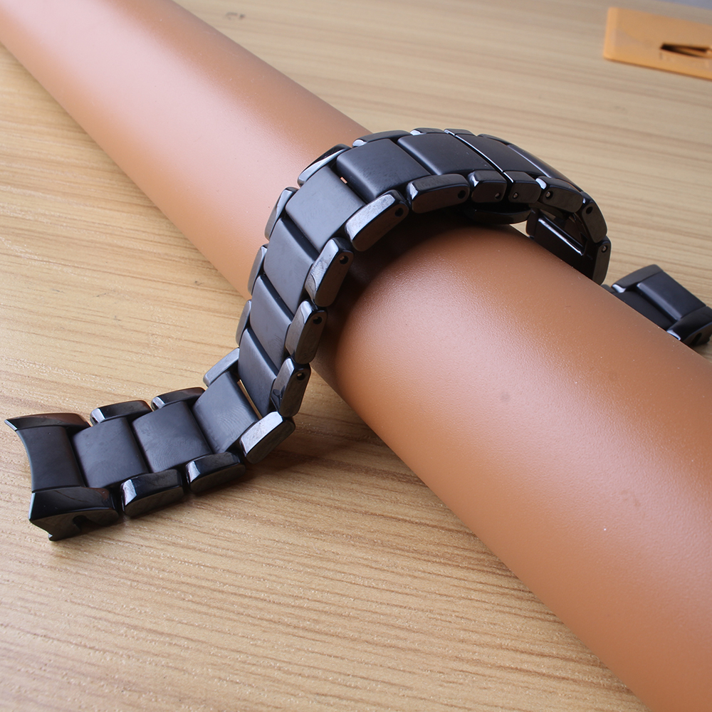 22mm 24mm Watchbands bracelet Ceramic black polished and matte watch accessories folding buckle special end curved fit 1451 1452 dull polished mixed beaded bracelet