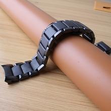 цены 22mm 24mm Watchbands bracelet Ceramic black polished and matte watch accessories folding buckle special end curved fit 1451 1452