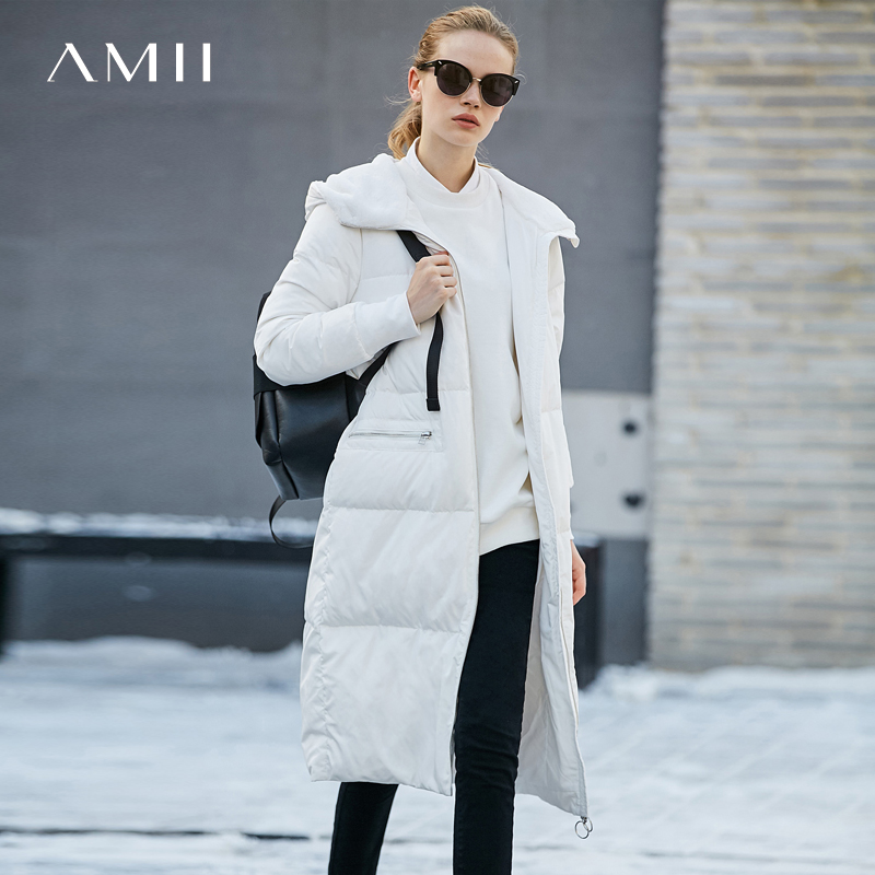 Amii Women 2018 Winter 90% White Duck   Down     Coat   Hoodies Pockets Female Fashion Light Jacket   Coats