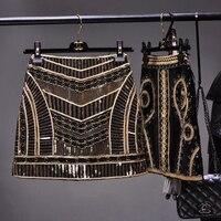 Cakucool Women Retro Black Sequined Short Skirt Vintage Beaded Pencil Skirt High Waist Golden Silm Bodycon Runway Mini Skirt