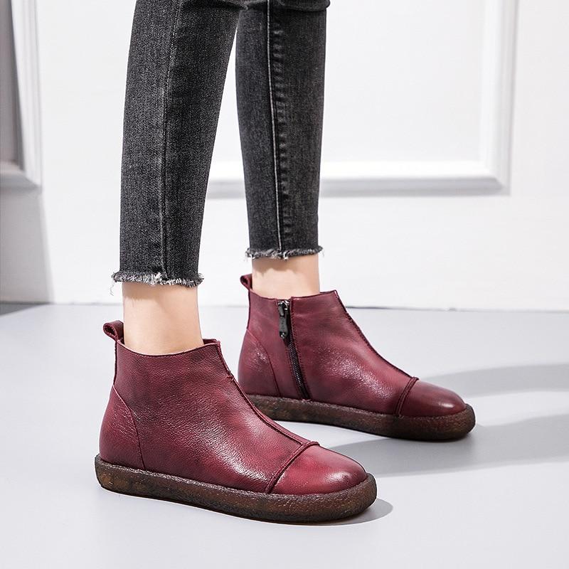 6 Chaussures Cuir Hiver Vintage Couche 1 En Véritable 2 De 4 Vache 2018 Nouveau Première New Peau Femmes 5 3 EWD2H9I