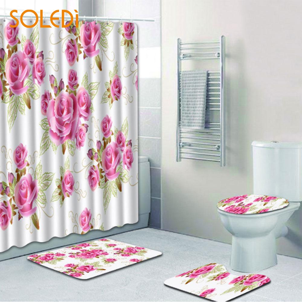 Curtains Flower 4Pcs Set Bathroom Mat Rug ValentineS Day Decor Romantic Shower Curtain Polyester Home Non Slip