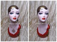 Red Color Jewelry Hat Wig Display Vintage Hand Painted Fiberglass Female Mannequin Head