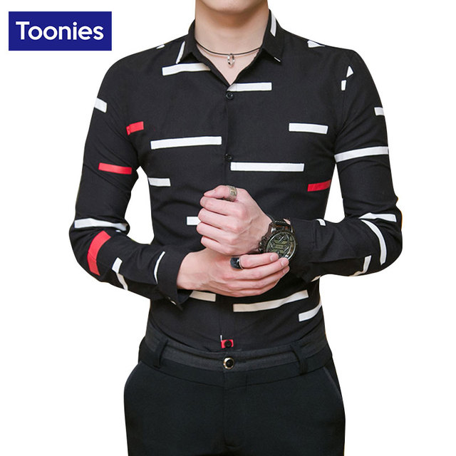 New Arrived 2017 Fashion Fromal Shirt Brand Long Sleeve Striped Men Dress Shirts Comfortable Camisa Masculina Plus Size Shit Man