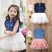 745b658689 Princess Summer Toddler Kids Baby Girls Denim Lace Patchwork Tulle Tutu  Formal Party Dress 2-7Y