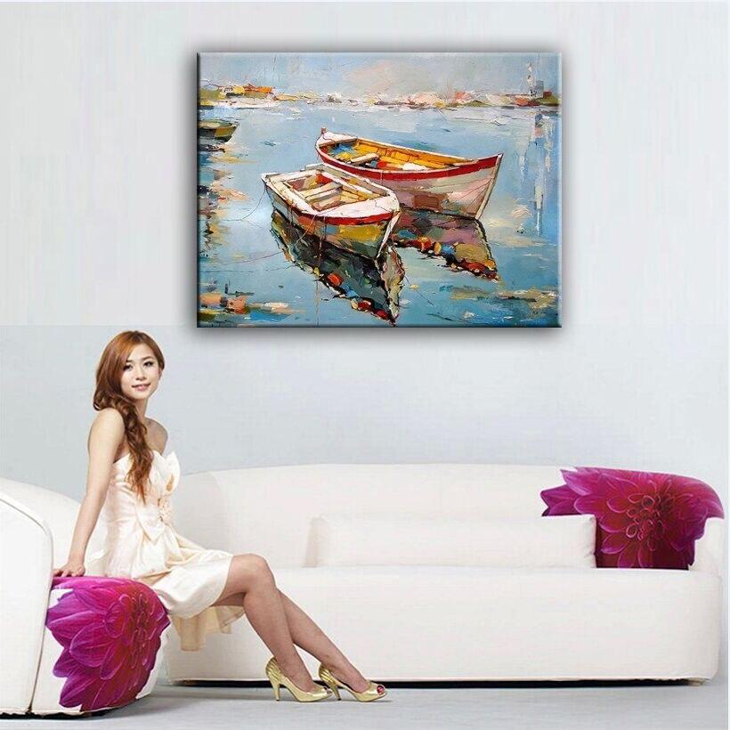 Домашнего декора картина маслом ручной росписью высокого качества пейзаж нож картины DM1609320