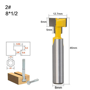 Image 5 - 1pc 8mm Shank T Track Slotting & T Slot Keyhole Cutter Wood Router Bit Steel Handle 3/8 & 1/2 Length Cutter For Wood