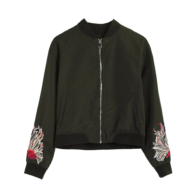 2019 New Women's <font><b>Jacket</b></font> Casual Embroidery Flower Thin Women's <font><b>Bomber</b></font> <font><b>Jacket</b></font> <font><b>Ladies</b></font> O-Neck Zipper Black and Green <font><b>Jacket</b></font> image
