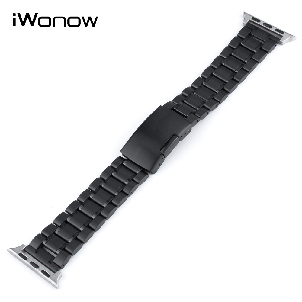 5 Pointer Stainless Steel Watchband for Apple Watch iWatch 38mm 42mm Press Clasp Band Wrist Strap Bracelet + Adapters + Tool silicone rubber watchband adapters for iwatch apple watch 38mm 42mm wrist strap stainless steel buckle band bracelet black