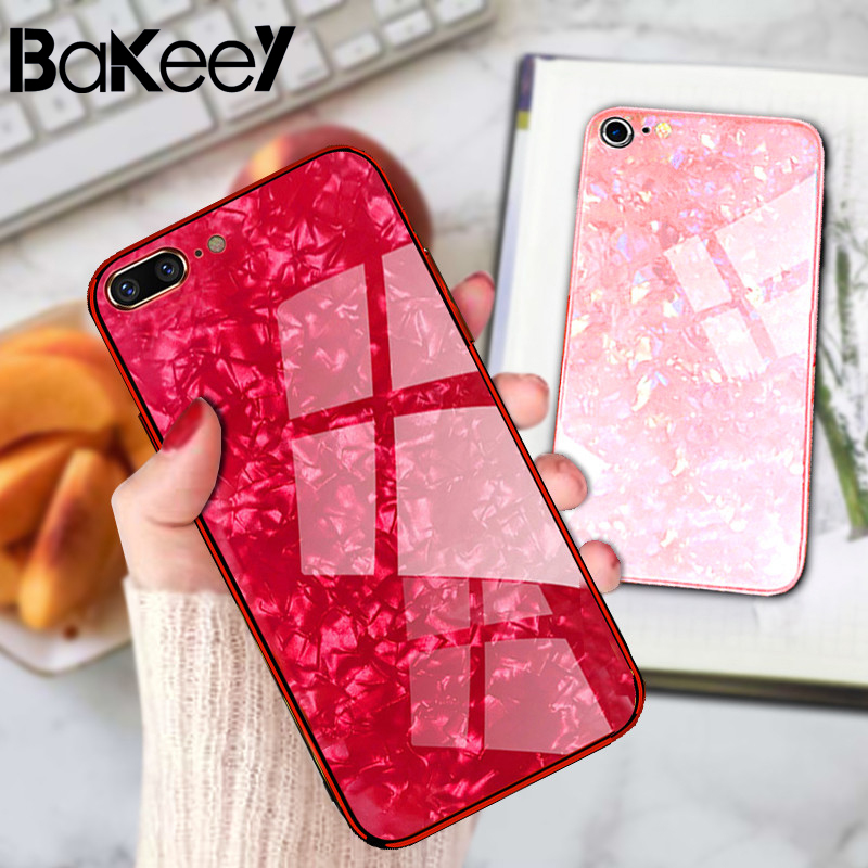 Bakeey Shell Pattern Glossy Glass phone case for iPhone7Plus/8Plus Soft-Edge Luxury Tempered glass Cover Bumper Protective Case