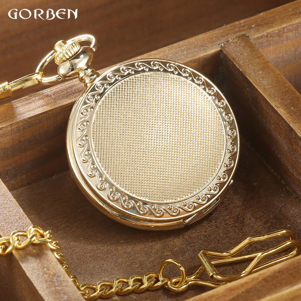 GORBEN Vintage Golden Case Hollow Pocket Watch Men Roman Number Quartz Watch Women Pendant Waist Chain Round Relogio Gift Box gorben new luxury retro roman dual display full golden dots pocket watch waist chain pendant for men and women gifts with box