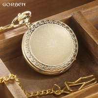 GORBEN Vintage Golden Case Hollow Pocket Watch Men Roman Number Quartz Watch Women Pendant Waist Chain