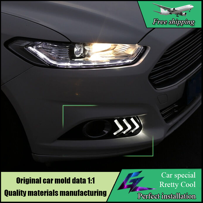 Car Styling LED Daytime Running Light With Yellow Turn Signal Function Lamp ABS Cover For Ford Mondeo 2013-2016 LED Daylights free shipping drl styling for ford mondeo fusion 2013 2016 led daytime running light turn signal function with fog lamp hole