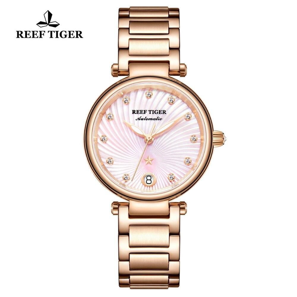 Reef Tiger/RT 2020 Top Brand Luxury Women Watch Rose Gold Ladies Diamond Bracelet Watches Date Relogio Feminino Gift RGA1590