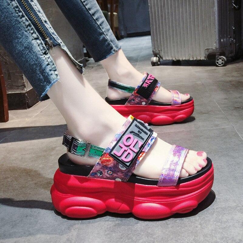 2019 New Summer Women Sandals High Heel Platform Ladies Shoes Summer Beach Sandals Red Women Casual Shoes sandalias mujer 53