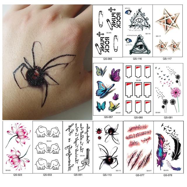 ff27ef3b9 12pcs/lot fake temporary tattoo stickers supplies waterproof small neck  hand tattoos lotus 3D butterfly birds heartbeat design