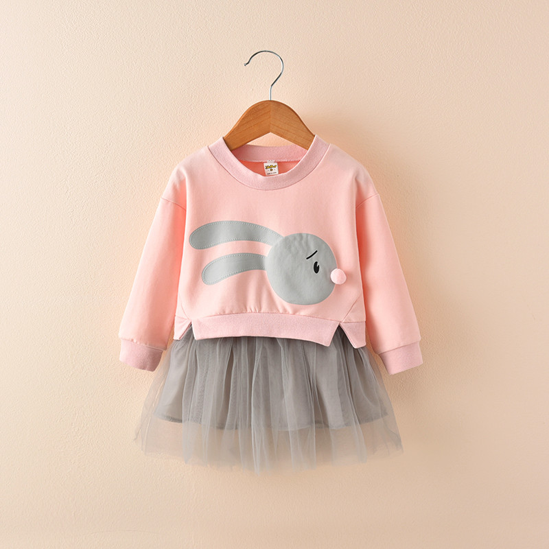 Vigarbear Платье для маленьких девочек Демисезонный Обувь для девочек поддельные 2 шт. Платья для женщин детей Платье принцессы с мультяшными пр...