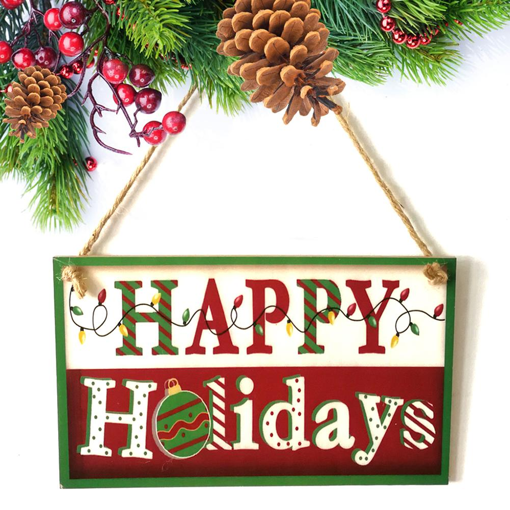 Happy Holiday Christmas Wall Door Hanging Sign Plaque Party Home Decoration