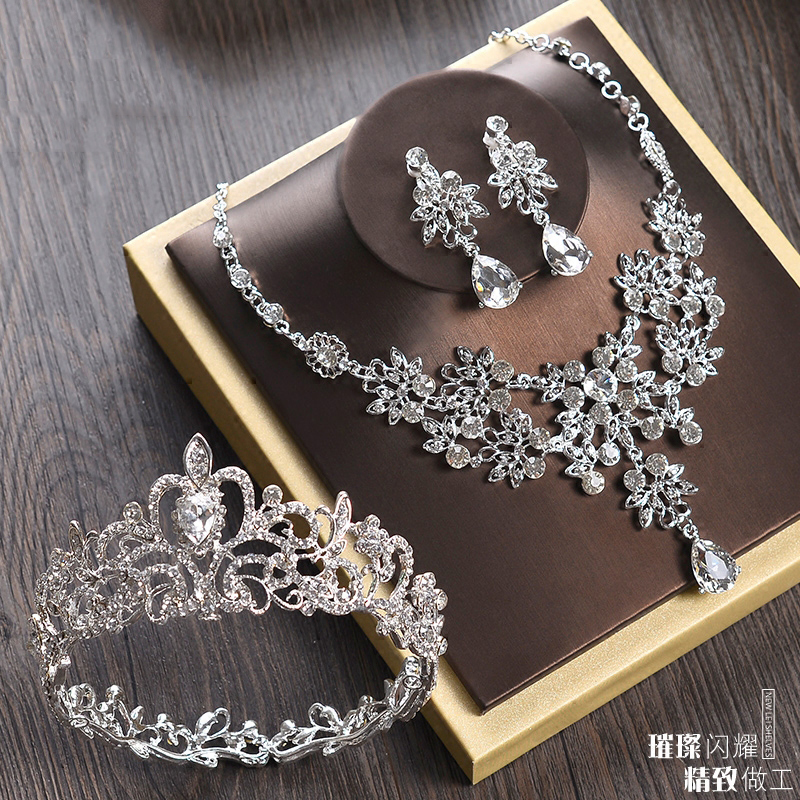 Bridal Jewelry Sets for Women Girls Kids Round Full Circle Crown Wedding Tiara Necklace Earrings Set Crystal Hair Accessories